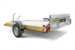 Absenkanhänger FBR10 Nutzlast ca. 700 kg Abbildung mit Option Aluboden und Elektrischer Bedienung