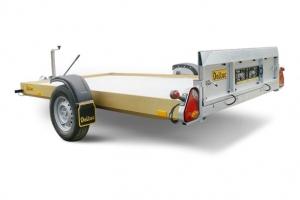 Absenkanhänger mit Auffahrklappe Nutzlast ca. 500 kg Abbildung mit Option Aluboden und Elektrischer Bedienung