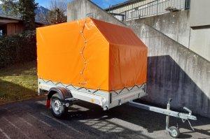 Orange hochglanz Hochplane mit Planengestell vorne 45° abgeschrägt Innenhöhe 1,60 m